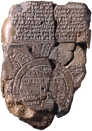 Map of the World, Babylonian, c. 700-500 B.C.E., probably from Sippar, southern Iraq, clay, 12.2 x 8.2 cm (The British Museum)