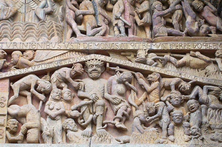 Hell (detail), Last Judgment tympanum, Church of Sainte‐Foy, France, Conques, c. 1050–1130, photo: Nick Thompson (CC BY-NC-SA 2.0)
