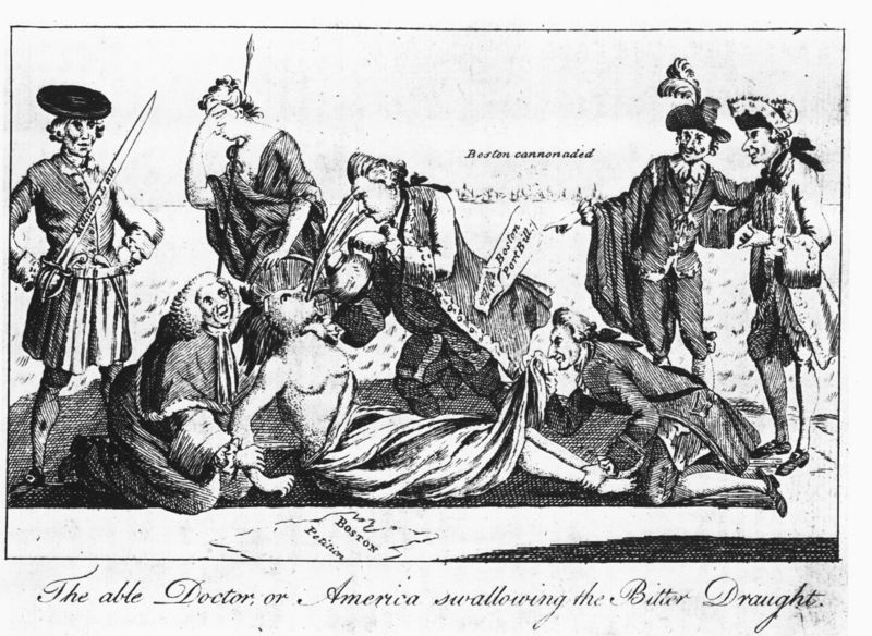 Political Cartoon Depicting The American Colonies As A Woman Being Held Down By Men Of