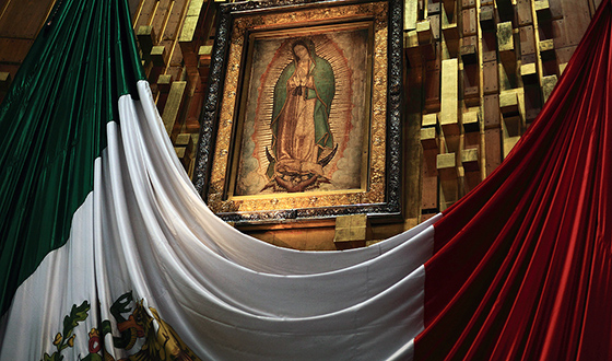 Virgin of Guadalupe. 16th century C.E. Oil and possibly tempera on maguey cactus cloth and cotton, Basilica of Guadalupe, Mexico City (photo: Esparta Palma, CC: BY 2.0)
