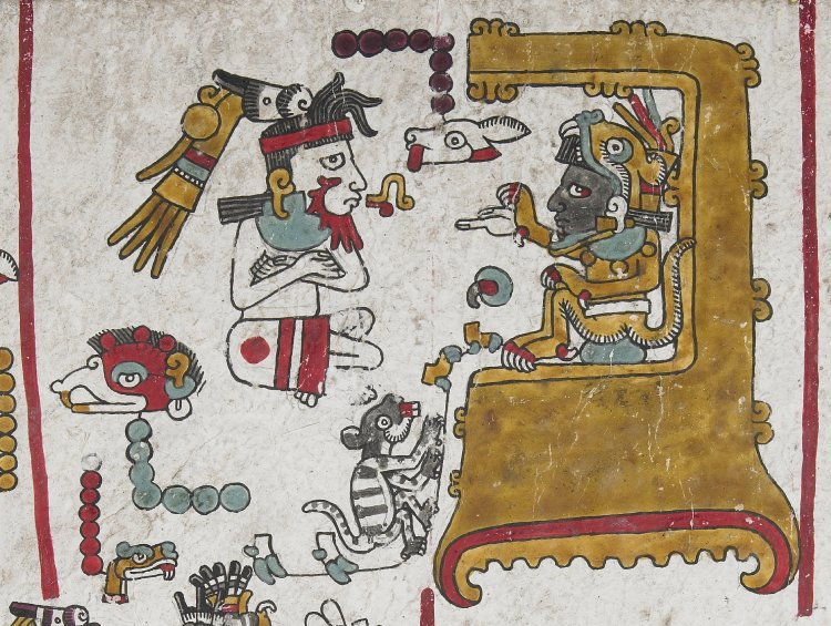 Folio fifty (detail with enthroned Mixtec ruler, Eight Deer Jaguar-Claw), Codex Zouche-Nuttall, Mixtec, Late Postclassic period, 1200-1521, C.E., deer skin, 47 leaves, each 19 x 23.5 cm © Trustees of the British Museum