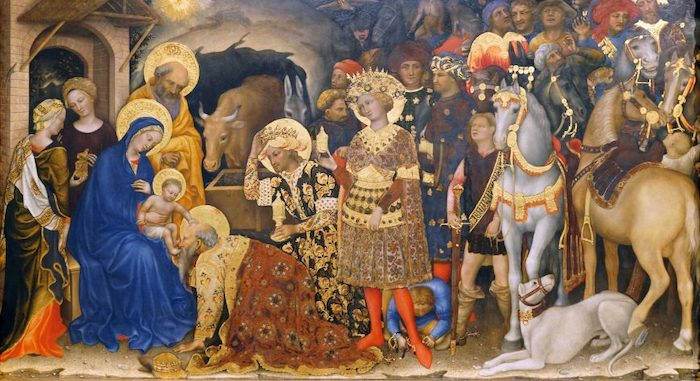 Gentile da Fabriano, Adoration of the Magi (detail), 1423, tempera on panel, 283 x 300 cm (Uffizi Gallery, Florence, photo: Steven Zucker, CC BY-NC-SA 4.0)