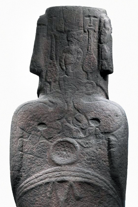 Back (detail), Hoa Hakananai'a ('lost or stolen friend'), Moai (ancestor figure), c. 1200 C.E., 242 x 96 x 47 cm, basalt (missing paint, coral eye sockets, and stone eyes), likely made in Rano Kao, Easter Island (Rapa Nui), found in the ceremonial center Orongo © The Trustees of the British Museum
