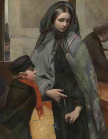 """Mourning woman toying with string (detail), Emily Mary Osborn, Nameless and Friendless, """"The rich man's wealth is his strong city: the destruction of the poor is their poverty"""" (Proverbs: 10:15), 1857, oil on canvas, 82 x 104cm (Tate Britain, London)"""