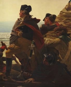 Washington at the front of the ship (detail), Emanuel Leutze, Washington Crossing the Delaware, 1851, oil on canvas, 378.5 x 647.7 cm (Metropolitan Museum of Art)