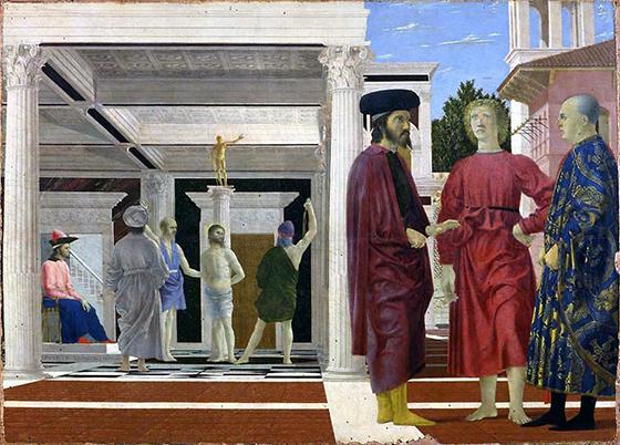 """Piero della Francesca, Flagellation of Christ, c. 1455-65, oil and tempera on wood, 1' 11 1/8"""" x 2' 8 1/4"""" (Galleria Nazionale delle Marche, Urbino)"""