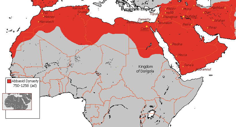 A map of the extent of the Abbasid Dynasty from 750 to 1258. Extent of Abbasid dynasty is shown in red and covers most of the modern-day Middle East and North Africa.