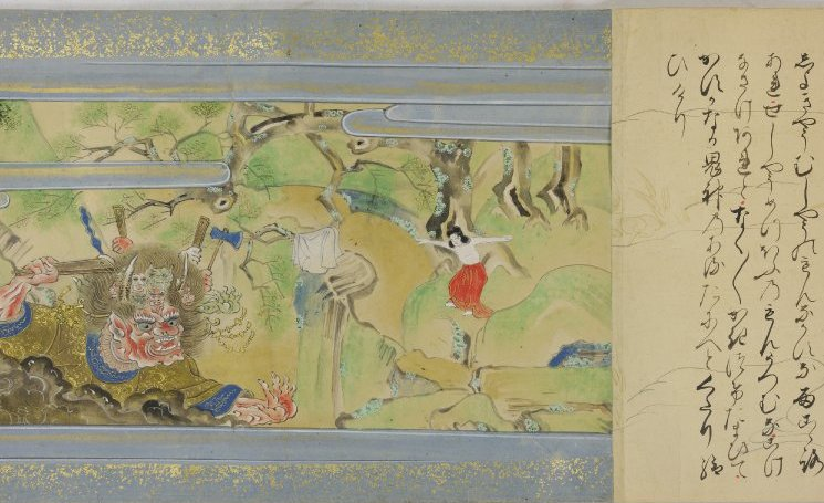 Shaka no honji (The Story of Sakyamuni), hand scroll, ink and color on paper, 32.9 x 1703.4 cm, Tosa School, Edo Period, Japan