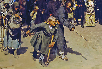 Hunchbacked boy at the front of the impoverished in procession (detail), Ilya Repin, Krestny Khod (Religious Procession) in Kursk Gubernia, 1880-83, oil on canvas, 175 x 280 cm (State Tretyakov Gallery, Moscow)