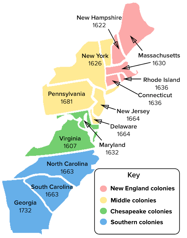 The New England and Middle colonies (article) | Khan Academy Colonies Map on
