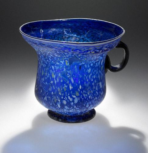 Blue Splashware Cup, Roman, 1–100 C.E, glass, 4 13/16 inches high x 5 11/16 inches in diameter (The J. Paul Getty Museum)