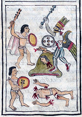 Ilustração da Batalha de Coatepec, de Bernardino de Sahagún, História Geral das Coisas da Nova Espanha (O Códice Florentino), 1575-1577, volume 1, página 420