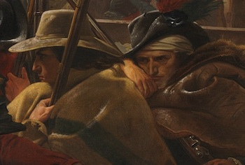Farmers huddled against cold at middle of boat (detail) Emanuel Leutze, Washington Crossing the Delaware, 1851, oil on canvas, 378.5 x 647.7 cm (Metropolitan Museum of Art)