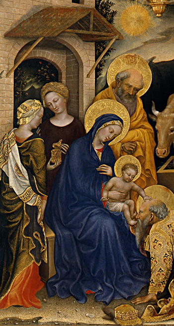 Gentile da Fabriano, Adoration of the Magi, 1423, tempera on panel, 283 x 300 cm (Uffizi Gallery, Florence)