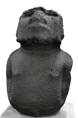 "Moai Hava (""Dirty statue"" or ""to be lost""), Moai (ancestor figure), c. 11-1600 C.E., 156 cm high, basalt, Easter Island (Rapa Nui) © The Trustees of the British Museum"