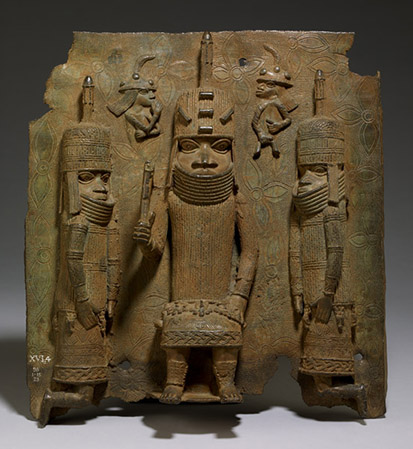 Benin Plaque: the Oba with Europeans, 16th century, 43.5 x 41 cm, Edo people, Benin, Nigeria © Trustees of the British Museum