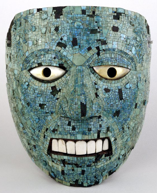 Turquoise mosaic mask (human face), 1400-1521 C.E., cedrela wood, turquoise, pine resin, mother-of-pearl, conch shell, 16.5 x 15.2 cm © The Trustees of the British Museum