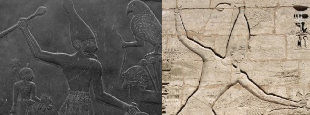 Palette of Narmer, c. 3000-2920 B.C.E. (left) and Ramses III smiting at Medinet Habu (1160 B.C.E.) (right)