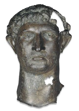 Bronze head from a statue of the Emperor Hadrian, 2nd century C.E., Roman Britain (The British Museum)
