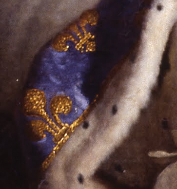 """Fleur-de-lis and ermine (detail), Hyacinthe Rigaud, Louis XIV, 1701, oil on canvas, 9'2"""" x 6'3"""" (Musée du Louvre, Paris)"""
