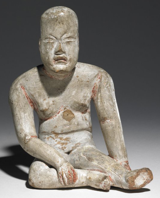 Seated pottery figure, 1200 BC - 400 B.C.E., Olmec, pottery, 15.5 x 11.5 cm © The Trustees of the British Museum