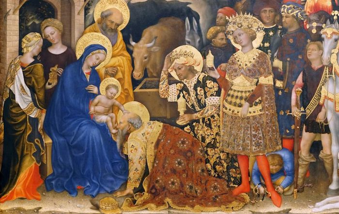 Gentile da Fabriano, Adoration of the Magi (detail with the Virgin Mary in blue, Joseph in yellow behind her, Jesus on her lap being kissed by the king Melchior, with kings Casper stooping, and Balthazar standing), 1423, tempera on panel, 283 x 300 cm (Uffizi Gallery, Florence, photo: Steven Zucker, CC BY-NC-SA 4.0)