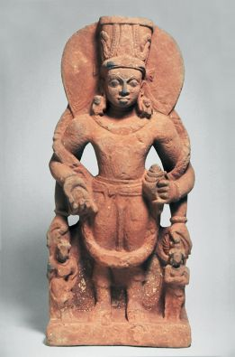 The Hindu deity Vishnu, 300-400. India; Mathura area; Uttar Pradesh state. Sandstone. The Avery Brundage Collection, (Asian Art Museum. B73S17).