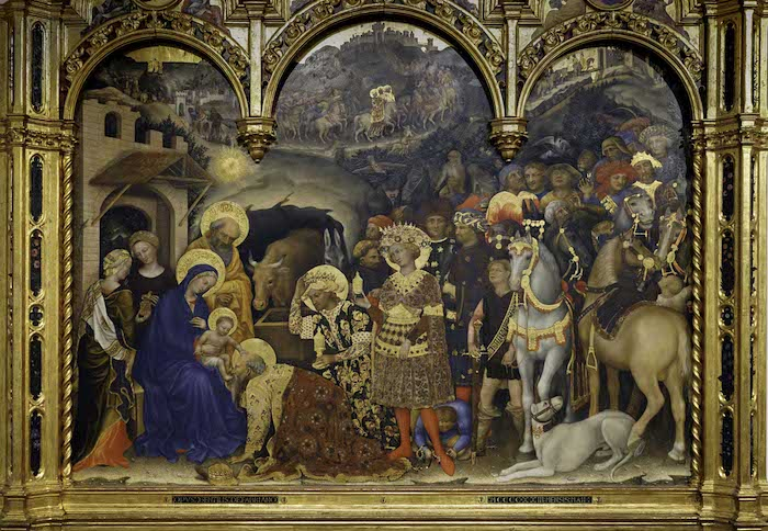 Gentile da Fabriano, Adoration of the Magi, 1423, tempera on panel, 283 x 300 cm (Uffizi Gallery, Florence) (photo: Steven Zucker, CC BY-NC-SA 4.0)