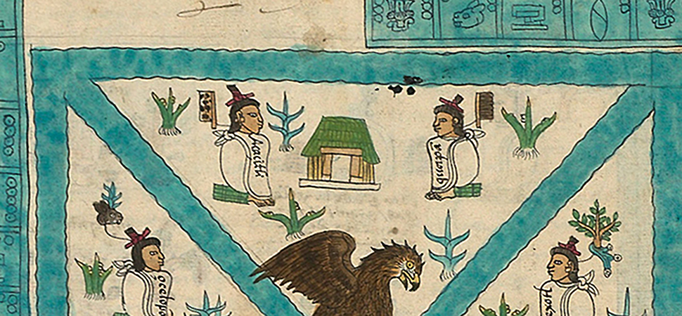 Detail with temple, Frontispiece, Codex Mendoza, Viceroyalty of New Spain, c. 1541–1542, pigment on paper © Bodleian Libraries, University of Oxford