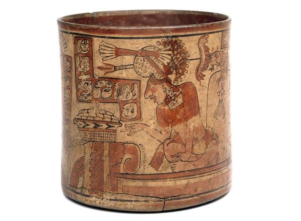 The Fenton Vase, Maya, Late Classic period (AD 600-800), from Nebaj, Guatemala, polychrome ceramic, 17.2 cm diameter © Trustees of the British Museum