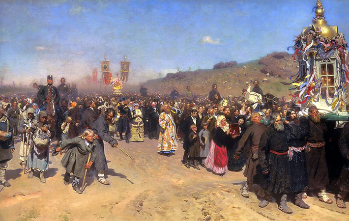 Ilya Repin, Krestny Khod (Religious Procession) in Kursk Gubernia, 1880-83, oil on canvas, 175 x 280 cm (State Tretyakov Gallery, Moscow)