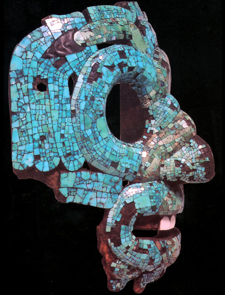 Side view of mask (detail), Mosaic serpent mask of Quetzalcoatl/Tlaloc, 15th-16th century C.E., Mexica/Mixtec, cedrela wood, turquoise, pine resin, gold, conch shell, beeswax, 18.2 x 16.5 x 12.5 cm, Mexico © Trustees of the British Museum