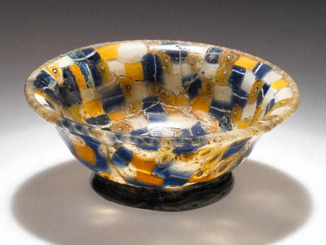 """Cup with Blue, WHite, and Yellow Canes, Greek, 100-1 B.C.E., 1 1/2"""" x 4 1/16"""" diameter, (The J. Paul Getty Museum)"""