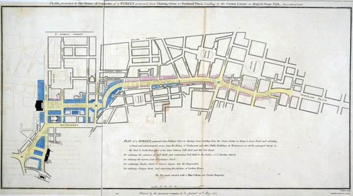 "John Nash, PLAN, presented to the House of Commons, of a STREET proposed from CHARING CROSS to PORTLAND PLACE, leading to the Crown Estate in Marylebone Park,"" 1813."
