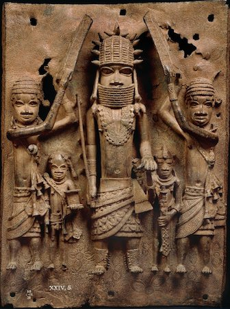 Brass plaque showing the Oba of Benin with attendants, 16th century, 51 x 37 cm, Edo peoples, Benin, Nigeria, © Trustees of the British Museum