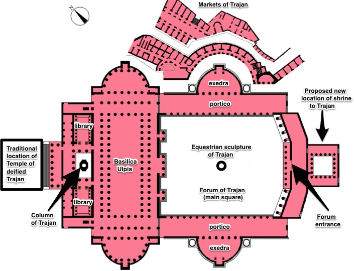 Plan of the Forum of Trajan. Note that the traditional site of the temple of the deifiedTrajan is shown, but is replaced by a shrine located at the southern side of the forum's main square (following R. Meneghini) (image: CC BY-SA 3.0, annotated by Smarthistory)
