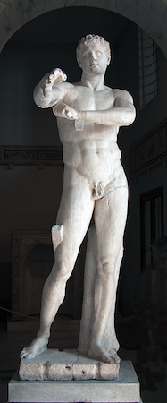 Lysippos of Sikyon, Apoxyomenos (Scraper), Hellenistic or Roman copy after 4th c. Greek original, c. 390-306 B.C.E. (Museo Pio-Clementino, Vaticana)