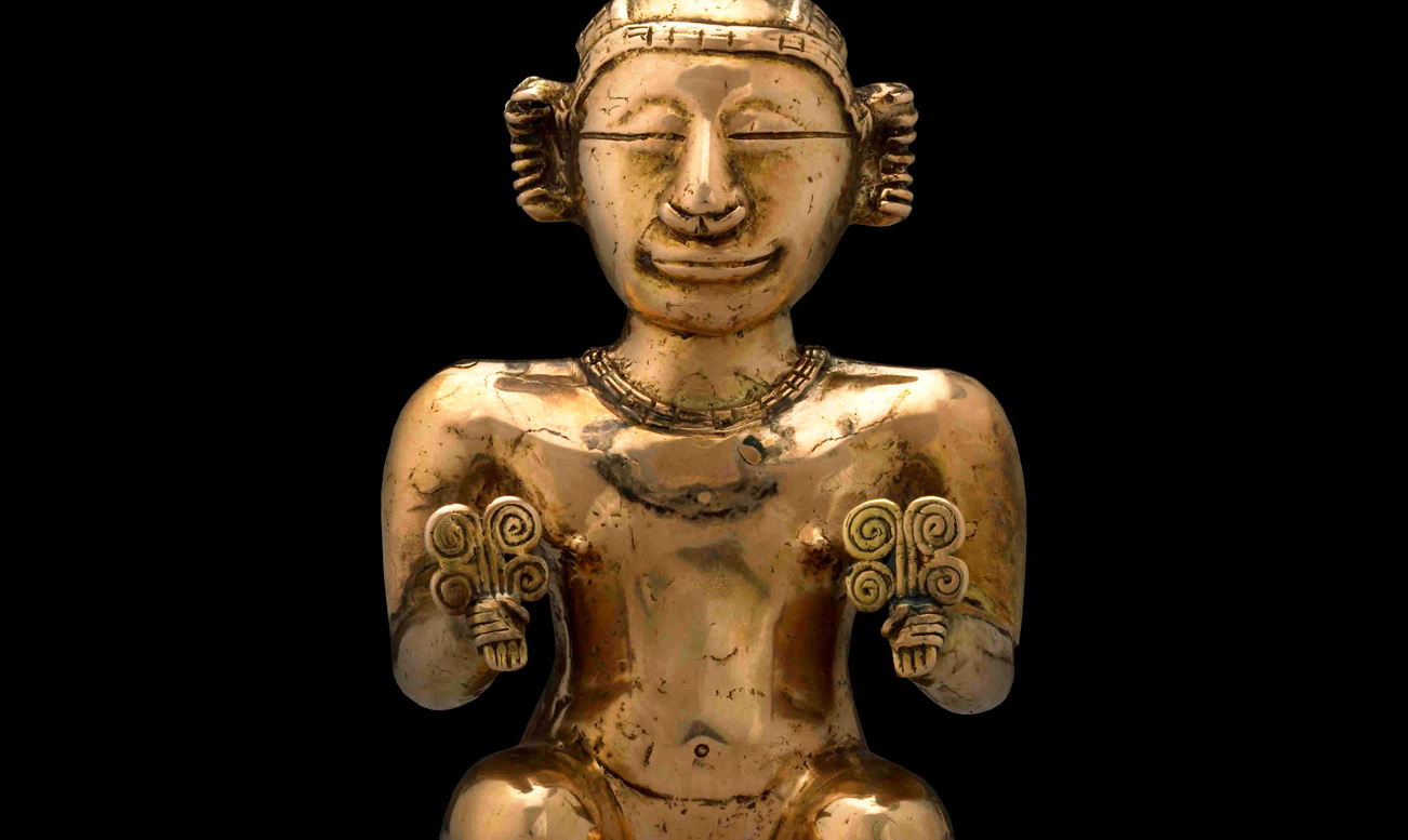 Seated female poporo (detail), c. 500 B.C.E. - 700 C.E. Early Quimbaya, found Cauca Valley, Columbia, tumbaga (gold alloy) © The Trustees of the British MuseumThis lime-flask was cast by the lost-wax method. The head, lower legs and stool were cast separately and then soldered to the body. Flasks held lime obtained from burning and grinding seashells. The alkaline lime was chewed with coca leaves to release their active stimulant and enhance clear, contemplative thinking.