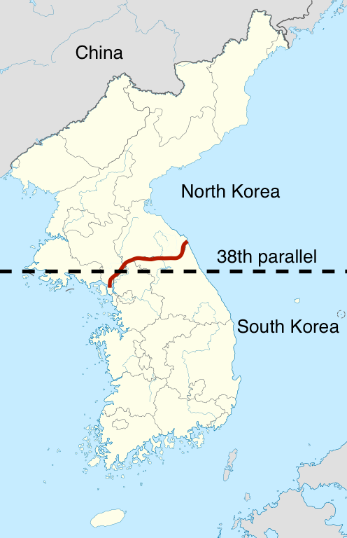 The Korean War Article  S America  Khan Academy Map Of North Korea And South Korea The Red Line Indicates The Presentday  Border Between The Two Nations Map Adapted From Wikimedia Commons