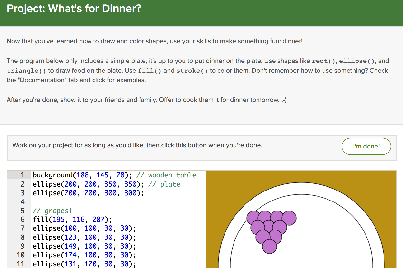 "A screenshot of the ""What's for Dinner?"" project."