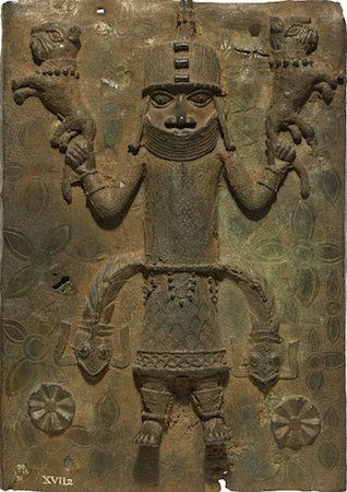 Plaque, 16th-17th century, brass, 49 x 34 x 6 cm, Benin © Trustees of the British Museum