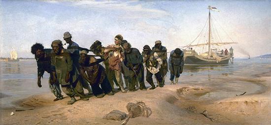Ilia Efimovich Repin, Volga Barge Haulers (Burlaki na Volge), 1870-1873, oil on canvas, 131.5 × 281 cm (State Russian Museum, St. Petersburg)