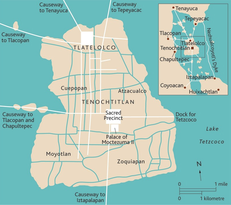 Map of the Mexica/Aztec capital city, Tenochtitlan © Trustees of the British Museum