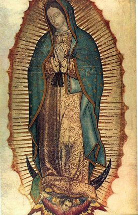 Virgin of Guadalupe. 16th century C.E. Oil and tempera (?) on maguey cactus cloth and cotton (Basilica of Guadalupe, Mexico City)