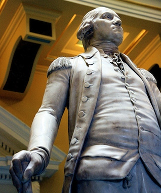 "Washington looking to his left, wearing his military uniform (detail), Jean-Antoine Houdon, George Washington, 1788-92, marble, 6' 2"" high, State Capitol, Richmond, Virginia, (photo: Holley St. Germain, CC BY-NC-SA 2.0)"