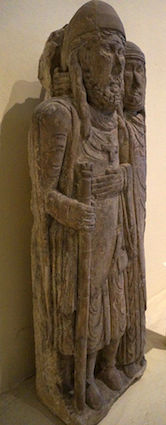 A departing or returning crusader being embraced by his wife from the Belval Priory, Lorraine, late 12th century (Musée des Beaux-Arts, Nancy)