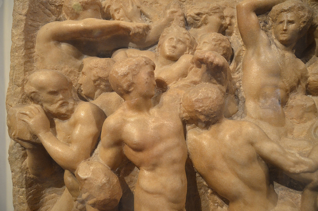 Michelangelo, Battle of the Centaurs, c. 1492, marble, 84.5 x 90.5 cm (Casa Bunarroti)