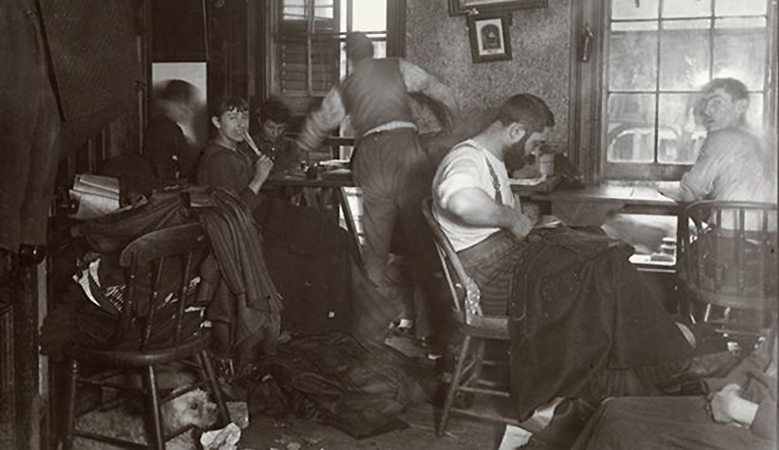 """Jacob August Riis, """"Knee-pants"""" at forty five cents a dozen—A Ludlow Street Sweater's Shop (detail), c. 1890, 7 x 6 inches from How the Other Half Lives"""