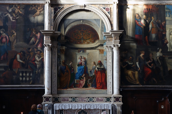Giovanni Bellini, San Zaccaria Altarpiece, 1505, oil on wood transferred to canvas, 16 feet 5-1/2 inches x 7 feet 9 inches (San Zaccaria, Venice), photo: Steven Zucker(CC BY-NC-SA 2.0)