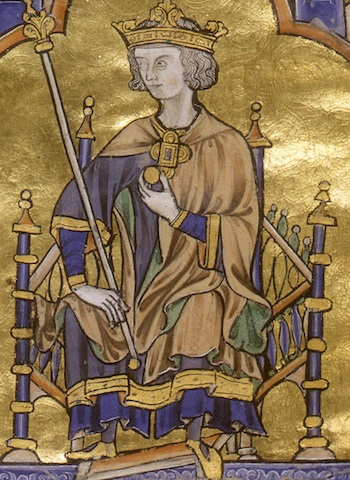 Detail of Louis IX, Blanche of Castile and King Louis IX of France; Author Dictating to a Scribe, Moralized Bible, c. 1230